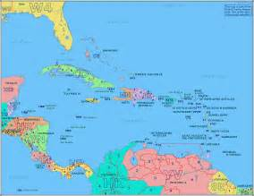 Caribbeans Map by Island Caribbean Islands Map