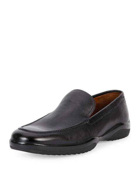 loafers slip on bally mils textured leather slip on loafer in black for