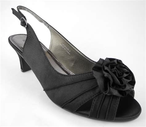 womens wide fitting kitten heel evening shoes