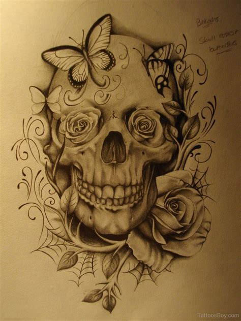skull butterfly rose tattoo skull tattoos designs pictures page 19