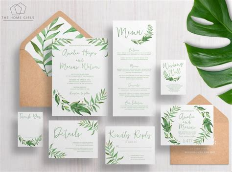 Wedding Invitations Greenery by Printable Wedding Invitation Suite Leafy Greenery