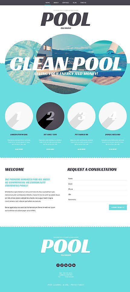 Template 47997 Pool Company Responsive Wordpress Theme Flat Design Website Templates Swimming Pool Website Templates Free