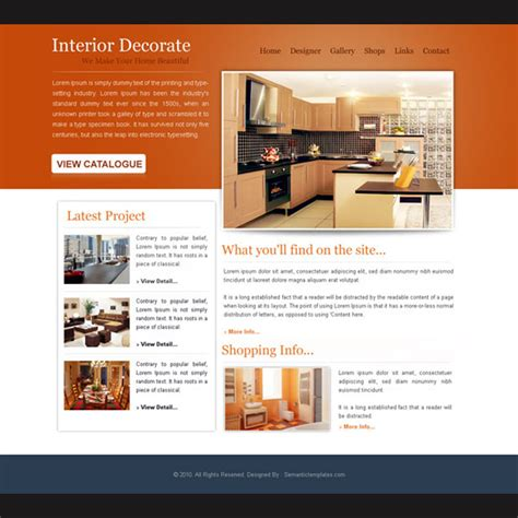Interior Decorate Simple And Attractive Website Template Psd Purchase Website Templates