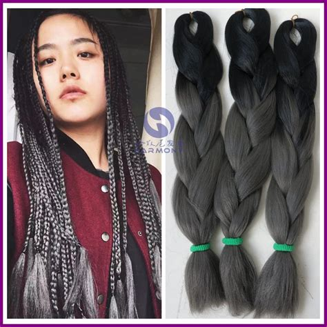 kanekolan hair black white grey free shipping 10packs ombre color dark grey hair