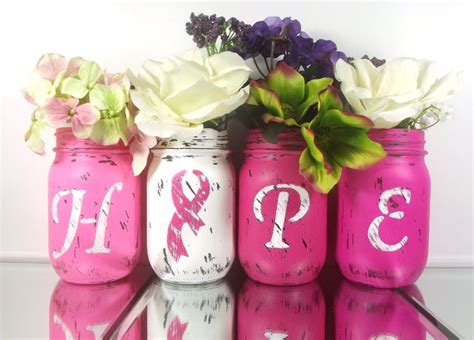 Breast Cancer Decorations by Painted Jars Breast Cancer Awareness Decor Pink