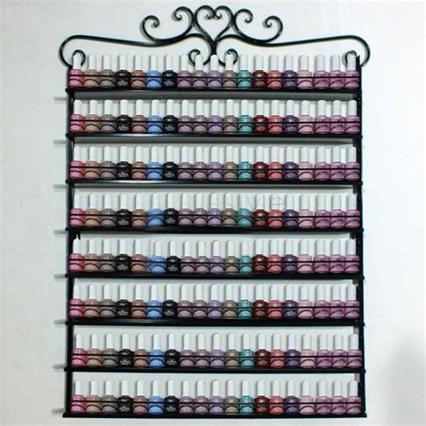 Fragrance Display Rack by 8 Layers Metal Frame Nail Display Wall Rack Stand