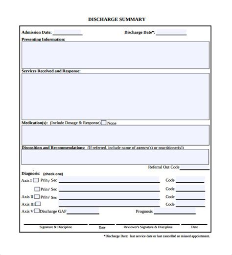 11 Discharge Summary Sles Sle Templates Discharge Template