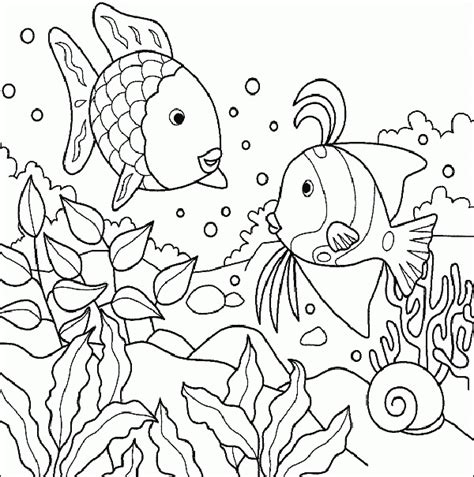 Sea Creature Coloring Pages Three Fish Sea Creatures Coloring Page