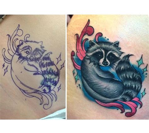 cute cover up tattoos raccoon cover up done by megan
