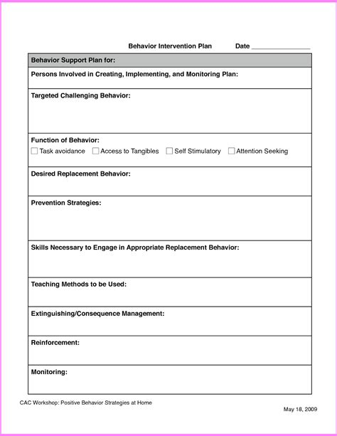 search results for behavior intervention plan template