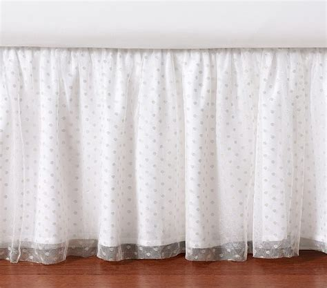 silver bed skirt silver dot tulle bed skirt pottery barn kids