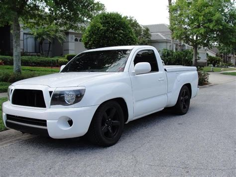 Lowered Toyota Tacoma Lowered Trucks On Quot White And Black Out