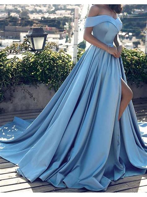 dress brokat kombi satin m blue the shoulder satin prom dresses formal