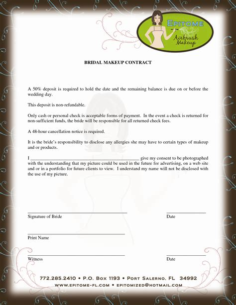 Freelance Contract Letter Sle contract for discounts beyoutiful template makeup and artist