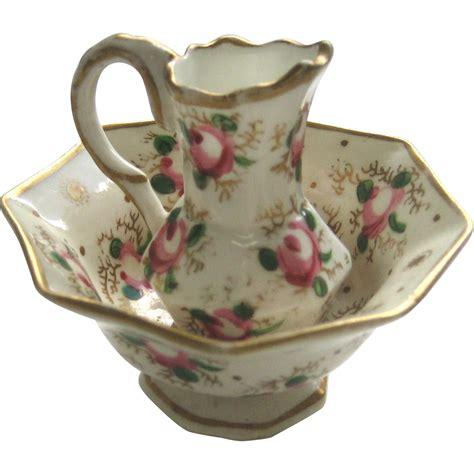 Floral Overall Set 1 antique miniature porcelain doll floral pitcher bowl set from sondrakruegerantiques on