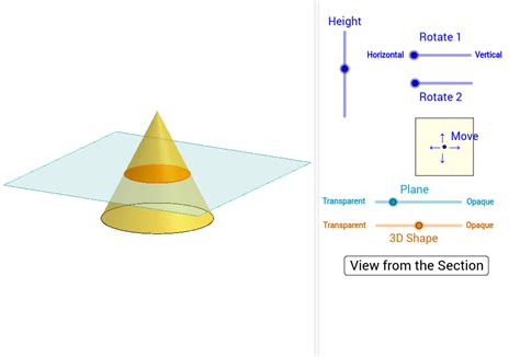 cone cross section cross sections of cones geogebra