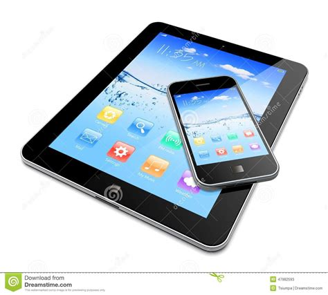 mobile tablet pc tablet pc with mobile phone stock illustration image