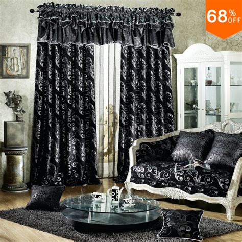 in a dark room with white curtains aliexpress com buy black luxurious rod stick hang style