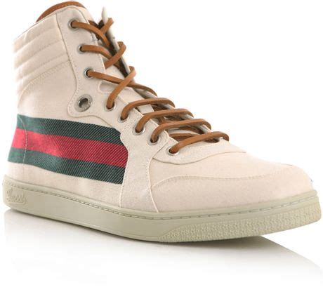 gucci retro sneakers gucci retro hightop trainers in beige for lyst