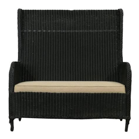 benches with cushions vintage high back wicker bench with cushion at 1stdibs