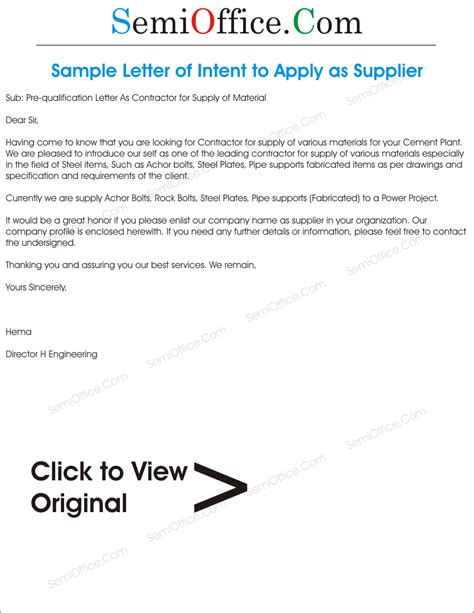 Letter As Supplier Prequalification Letter As Contractor For Supply Of Material