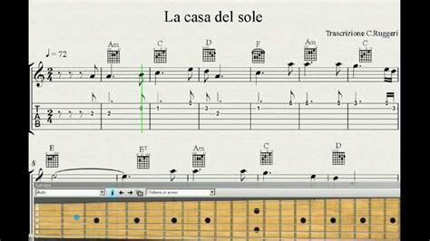 canzoni sulla casa spartito la casa sole per chitarristi