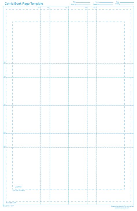 book template for pages tim de vall comics printables for