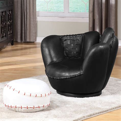 baseball chair with ottoman acme furniture all star sports themed baseball black glove