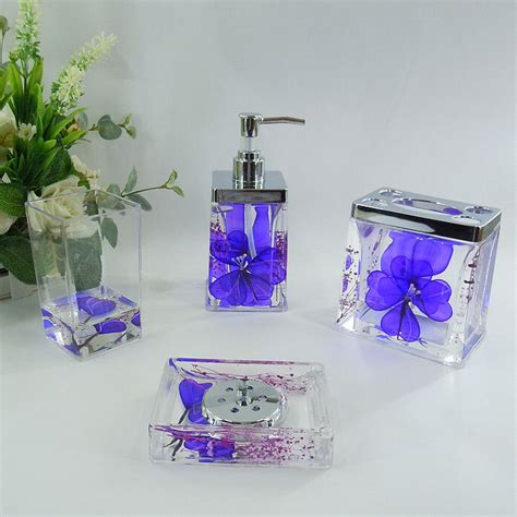 floral bathroom accessories blue floral acrylic bath accessory sets h4002