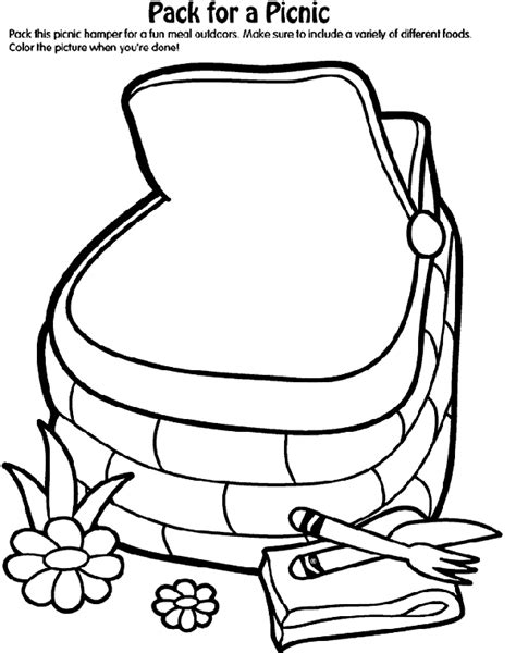 Pack For A Picnic Coloring Page Crayola Com Picnic Coloring Page