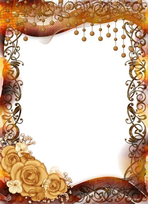 Superb 50th Wedding Anniversary Christmas Ornaments #4: Gold-Flower-Frame-PNG-Pic.png