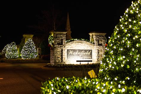 neighborhood entrance christmas decorations lighting light up nashville professional lighting