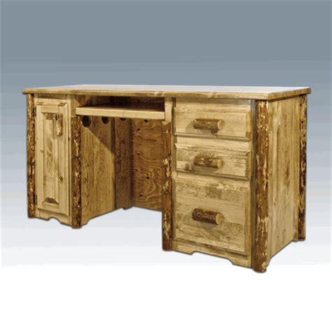 log computer desk amish quot glacier quot pine log computer desk