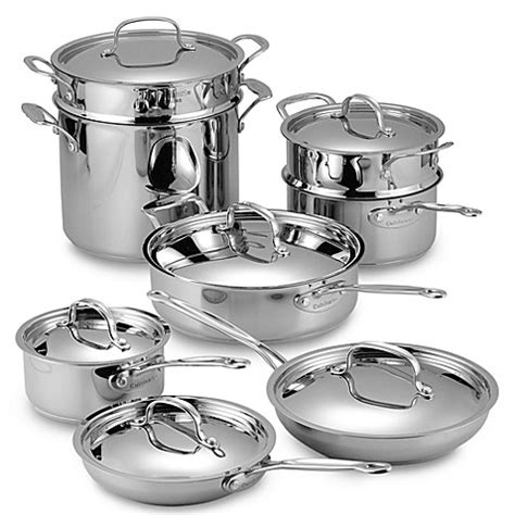 bed bath and beyond pots cuisinart 174 chef s classic stainless 14 piece cookware set