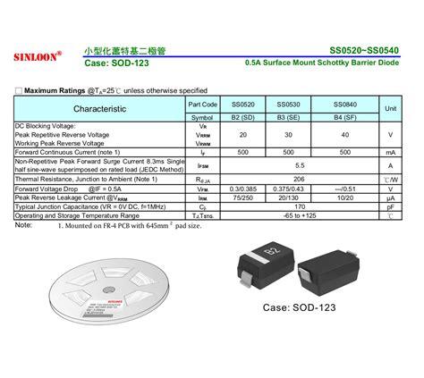 diode marking b3 ss0520 ss0540