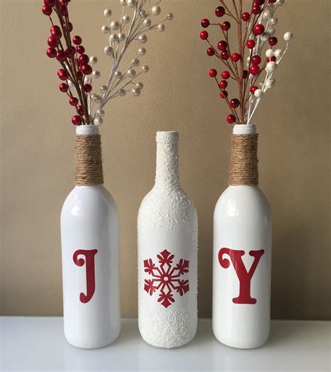 joy wine bottles christmas decorations snow wine bottles