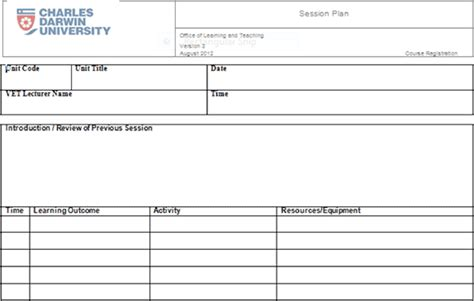 session plan template plan template