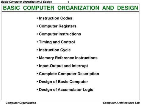 ppt basic computer organization and design powerpoint presentation id 6745897