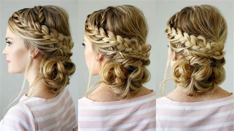 stunning details of double braid updo for formal events