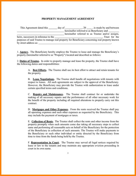 rental property contract template 11 property management agreement card authorization 2017