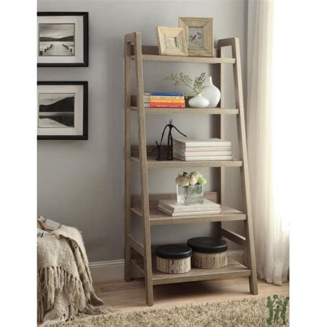 rustic ladder bookcase linon 69336gry01u tracey ladder bookcase rustic gray finish