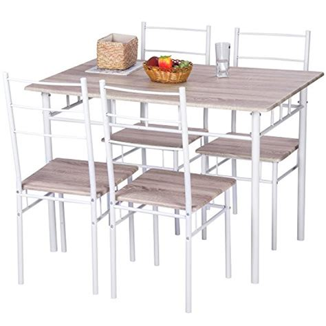 merax 5 pcs wood and metal dining set table and 4 chairs