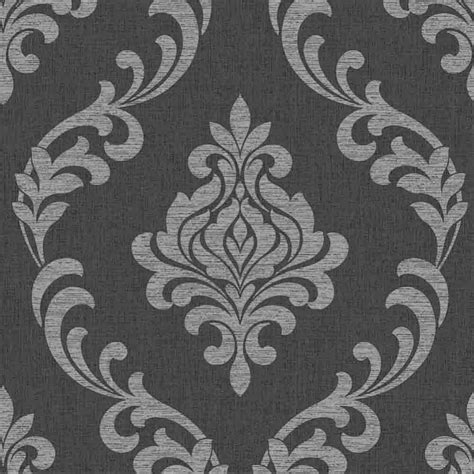 decor torino damask wallpaper black silver fd40076