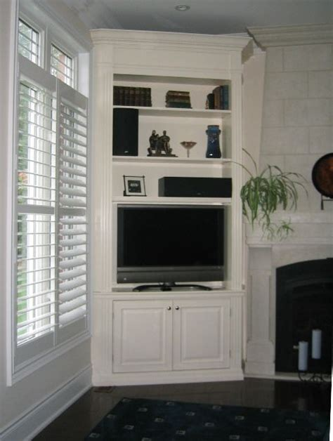 built in corner cabinet build corner entertainment center woodworking projects