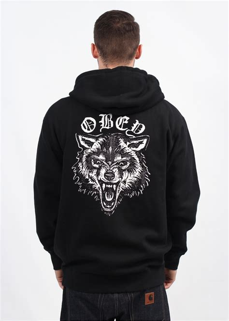 Hoodiezipper Obey obey wolf posse zip hoody black