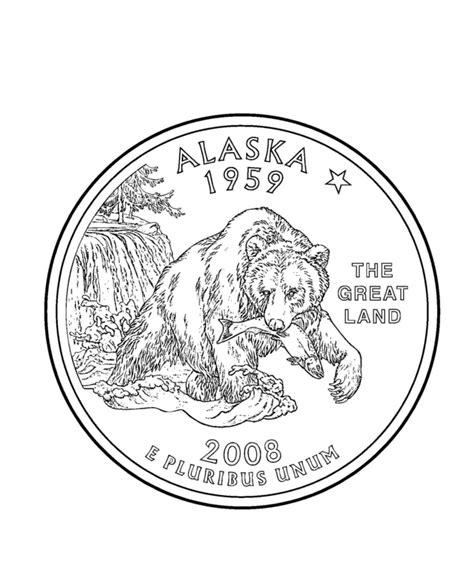 Coloring Page Quarter by Alaska State Quarter Coloring Page Usa State Quarters