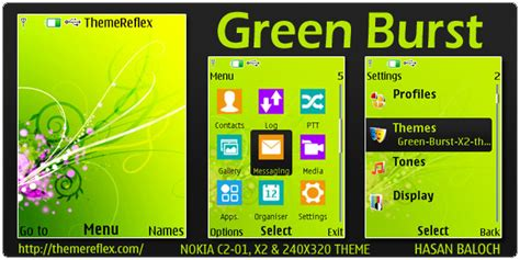themes nokia c2 don green burst animated theme for nokia x2 c2 01 240 215 320