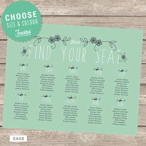 items similar to wedding seating chart printable pdf