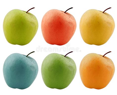 colored apples colored apples isolated on white stock photo image of