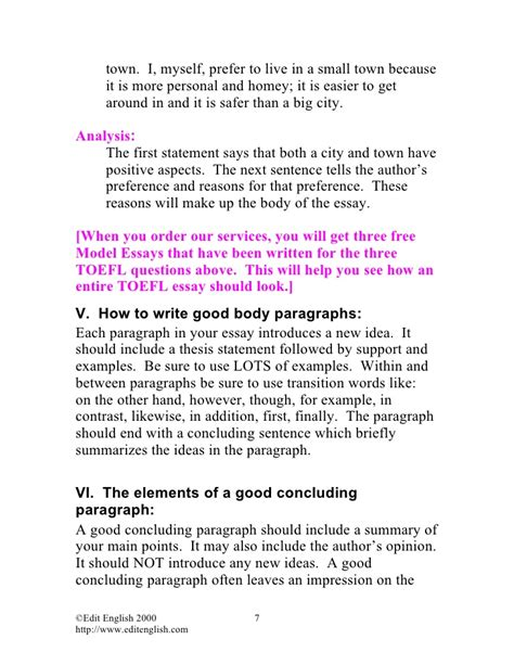 In A Small Town Essay by 2 Ebook Toefl Toefl Essay Writing Tips